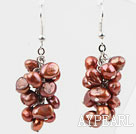 Cluster Style 6-7mm Dyed Brown Freshwater Pearl Earrings