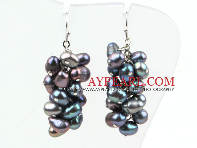 Cluster Style 5*6mm Black Freshwater Pearl Earrings