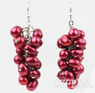 Cluster Style 5*6mm Dyed Purple Red Freshwater Pearl Earrings