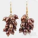 Wholesale Cluster Style 5-6mm Dyed Brown Freshwater Pearl Earrings