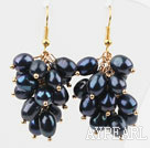 Wholesale Cluster Style 6-7mm Black Freshwater Pearl Earrings
