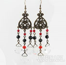Vintage Style White Black and Red Crystal Dangle Earrings