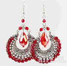 Wholesale Gorgeous Style Big Drop Shape Red Crystal Earrings