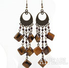 Vintage Style Garnet and Rhombus Shape Tiger Eye Long Earrings
