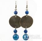 Vintage Style Blue Agate and Flat Round Broonze Accessories