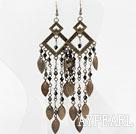 Wholesale Vintage Style Black White Crystal and Brooze Leaves Earrings