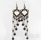 Wholesale Vintage Style Round Garnet Long Earrings