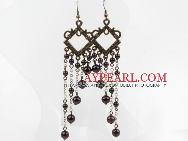 Fashion Vintage Long Chain Style Round Garnet Dangle Earrings With Copper Charm