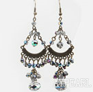 Vintage Cluster Style Plated Colorful Crystal Loop Chandelier Dangle Earrings
