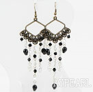 Wholesale Long Style White and Black Crystal Vintage Earrings