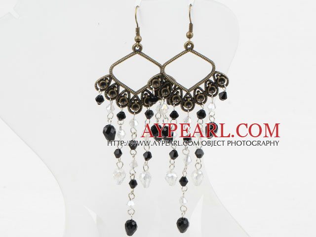 Long Style White and Black Crystal Vintage Earrings