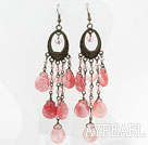 Wholesale Vintage Style Drop Shape Cherry Quartz Crystal Long Earrings