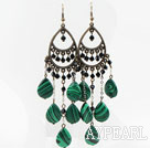 Wholesale Vintage Style Drop Shape Manmade Malachite and Black Crystal Long Earrings