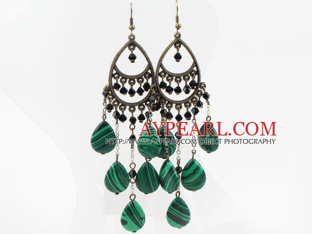 Vintage Style Drop Shape Manmade Malachite and Black Crystal Long Earrings