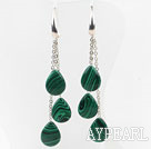 Drop Shape Manmade Malachite Long Style Earrings with Metal Chain