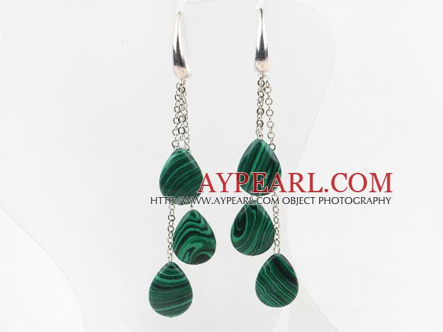 Drop Shape Manmade Malachite Long Style Earrings with Metal Chain