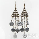Vintage Style Flat Round Eagle Eye stone Long Earrings