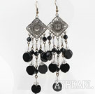 Assorted Clear Crystal and Black Agate Long Style Earrings