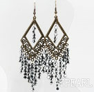 Vintage Style Gray Silver Color Crystal Tassel Earrings