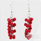 Wholesale Lovely Style Cucurbit Shape Red Coral Long Earrings
