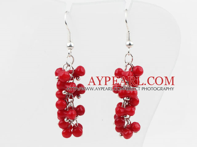 Lovely Style Cucurbit Shape Red Coral Long Earrings