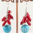 Classic Loop Chain Red Cylinder Coral And Round Blue Turquoise Cluster Earrings