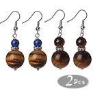 Wholesale 2 Pcs Classic Design 14mm Tiger Eye Bead And 6mm Lapis Earrings