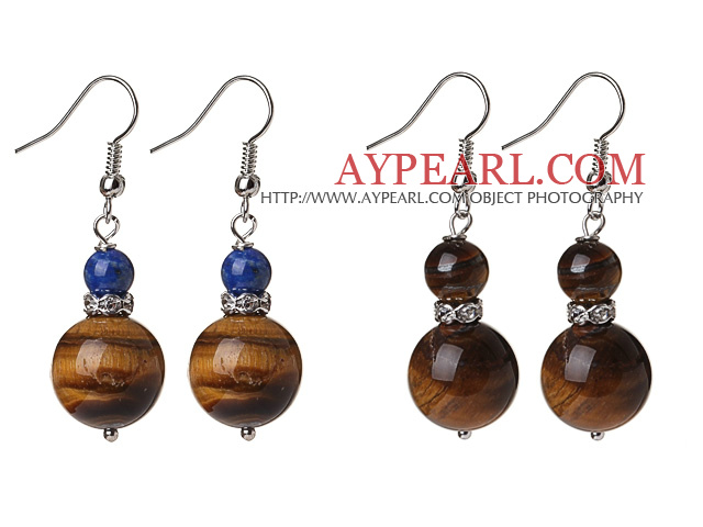 2 Pcs Classic Design 14mm Tiger Eye Bead And 6mm Lapis Earrings