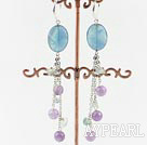 Wholesale rainbow fluorite dangle earrings