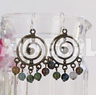 Elegant Colorful Indian Agate And Annulus Pattern Bronze Metal Dangle Earrings