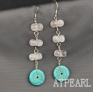 Wholesale turquoise and rose quartze earrings