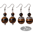 Wholesale 2 Pcs Classic Design 16mm Tiger Eye Bead Earrings With Tibet Silver Accessory