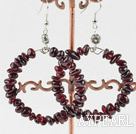 Wholesale Large-diameter circle fashion garnet earrings