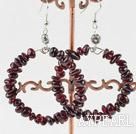 Large-diameter circle fashion garnet earrings