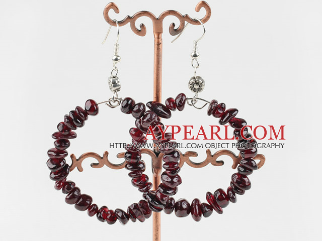Large-diameter circle fashion garnet earrings