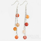 Wholesale 8mm round dangling style natural agate earings