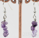 Wholesale natural amethyst chips earrings
