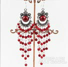 4mm red bloodstone chandelier earrings