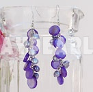 Wholesale dyed purple pearl shell earrings