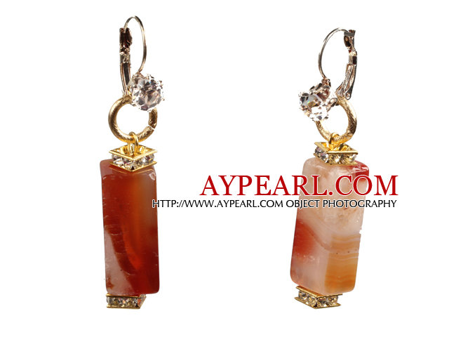 Simple Fashion Cuboid Shape Natural Crystallized Agate Dangle Earrings With Rhinestone Hook