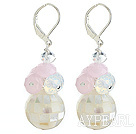 Wholesale Mosaics White Lip Shell and Pink Crystal Earrings