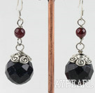 Fashion Round Garnet And Faceted Blue Sandstone Drop Earrings With Fish Hook