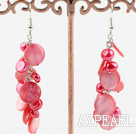 Wholesale dyed red and shell earrings