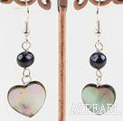 Wholesale black pearl lip shell earrings