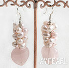 Wholesale dyed pink pearl and rose quartz earrings