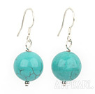 Nice Simple Style 14Mm Burst Pattern Blue Turquoise Ball Drop Earrings
