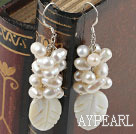 white pearl and white lip shell cluster earrings