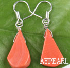 Lovely Simple Orange Color Coral Dangle Earrings With Fish Hook