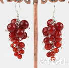Wholesale red carnelian cluster earrings