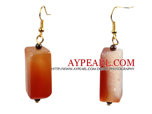 Simple Fashion Cuboid Shape Crystallized Agate Dangle Earrings